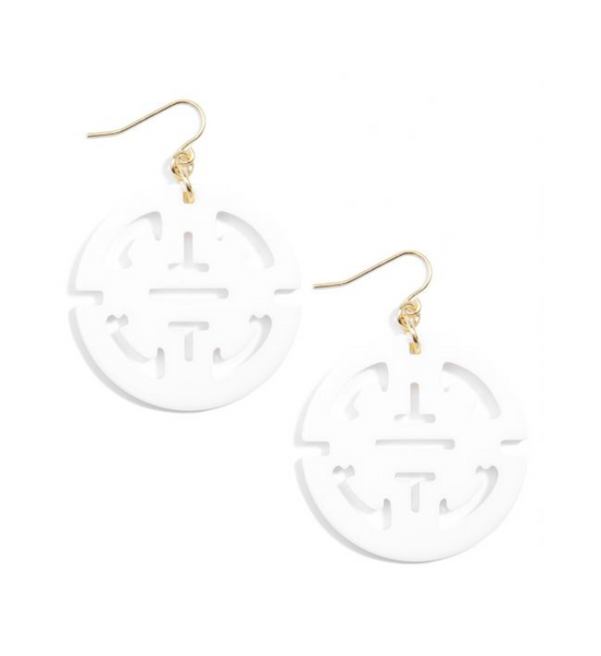 Resin Drop Earring White