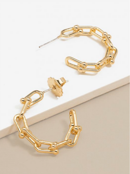 Chunky Cable Link Hoop Earring