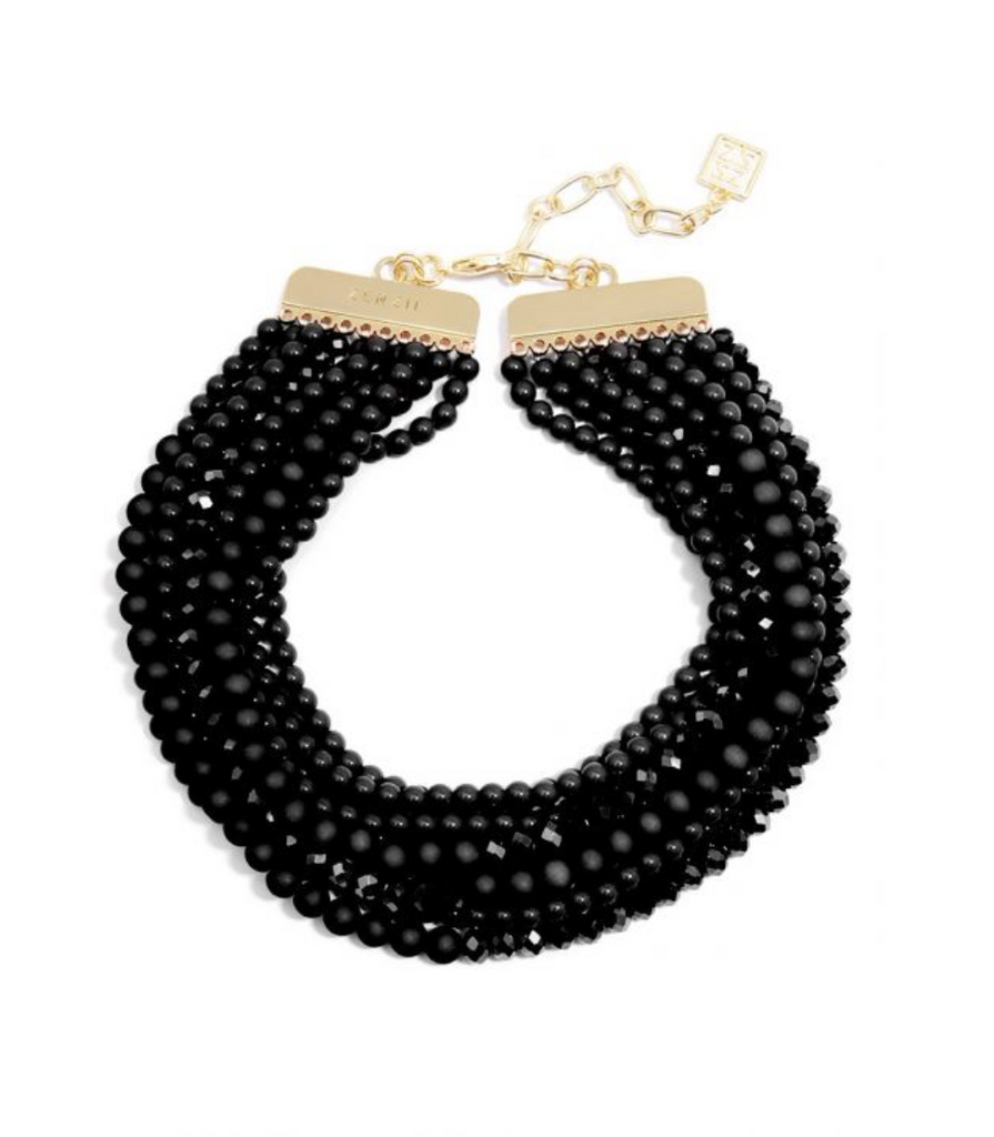 Matte And Crystal Beaded Collar Necklace Black