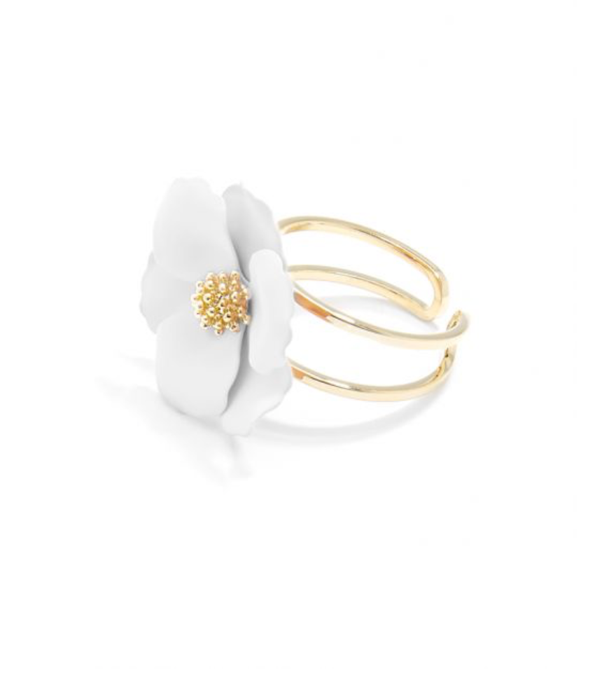 Painted Blossom Ring White