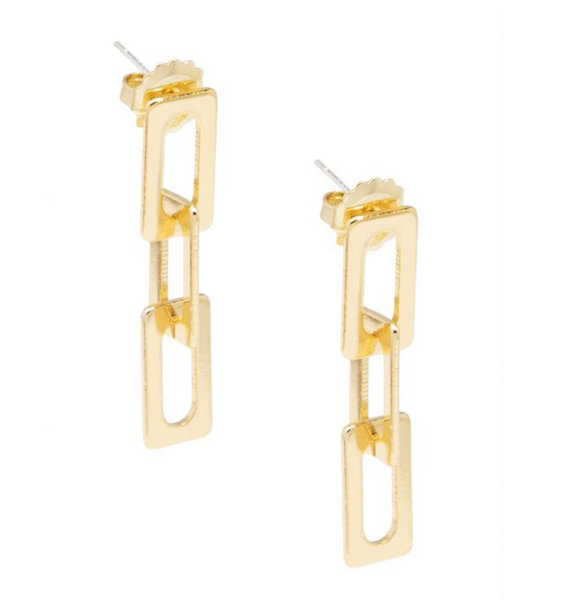 Rectangular Links Drop Earring