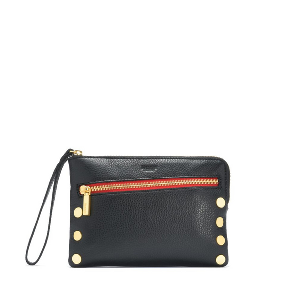 Nash Small Clutch Black with Brushed Gold Red Zipper