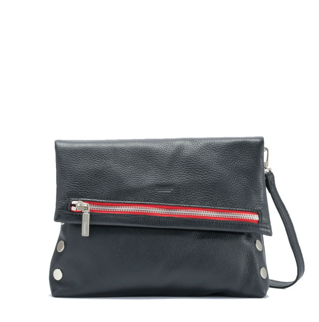 VIP Clutch - Black with Brushed Silver Hardware and Red Zipper