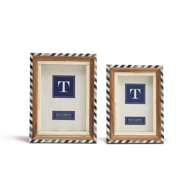 Blue and White Bone Border Photo Frames