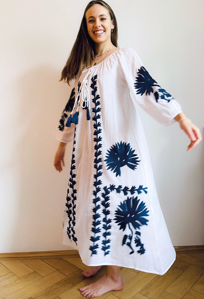 Malan Maxi Tunic - White/Navy