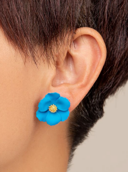 Flower Stud Earring - Neon Blue