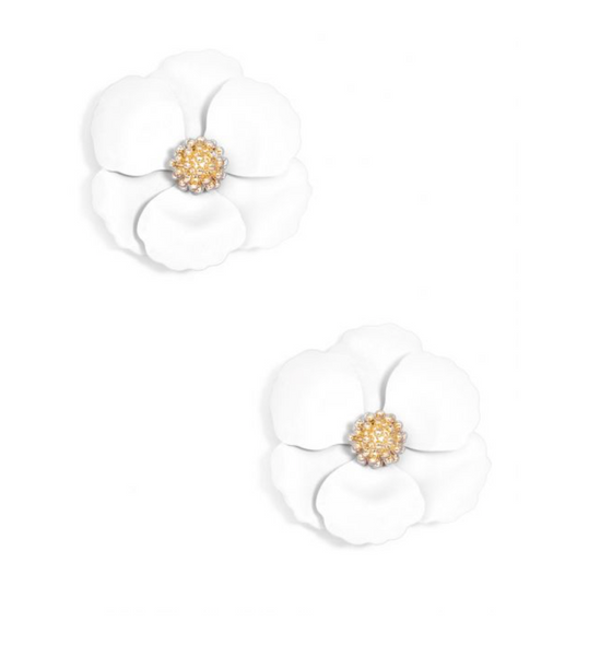 Flower Stud Earring - White