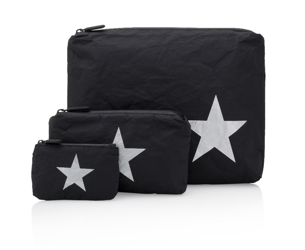 Black Pouch with Metallic Silver Star