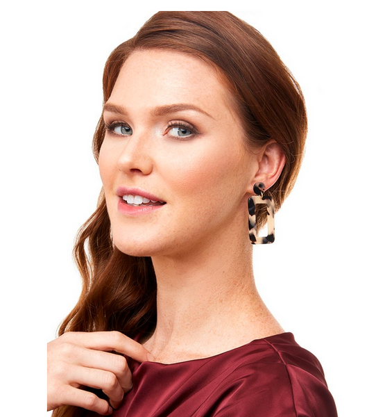 Tortoise Rectangular Drop Earring - Black/Tan