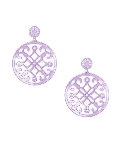 Statement Circle Drop Earring - Lavender