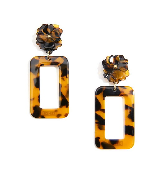 Tortoise Rectangular Drop Earring With Flower Post