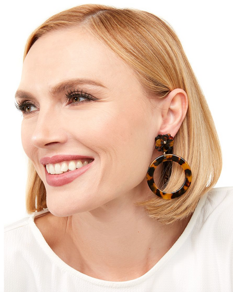 Tortoise Mod Circle Earring With Flower Post