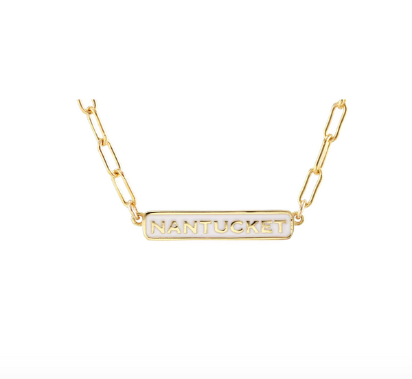 Nantucket Enamel Bar Charm Necklace