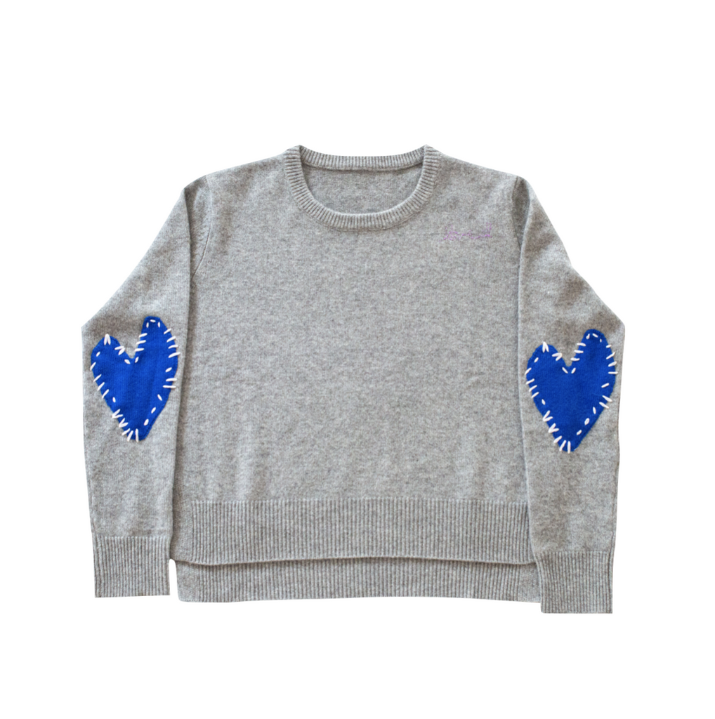 Patchwork Love Cashmere Sweater-Dove Grey+Azure Blue