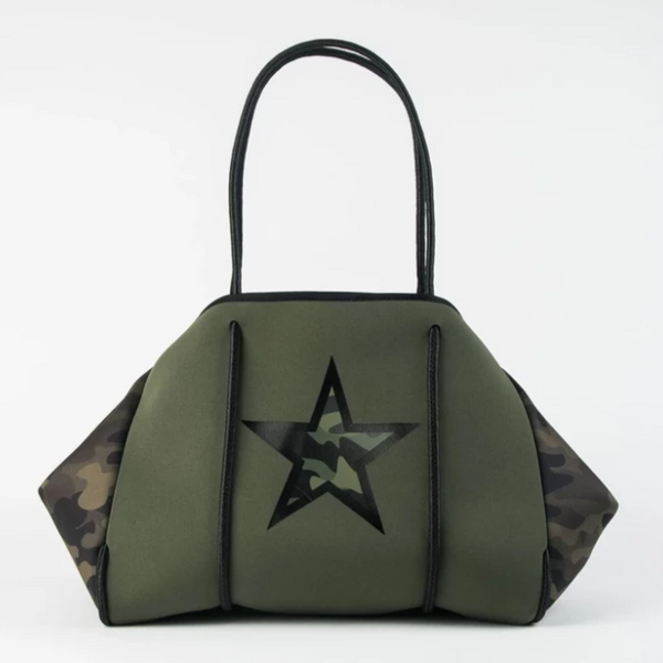 Greyson Neoprene Tote - Olive Center Panel with Green Camo Star