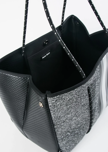 Greyson Neoprene Tote-Charcoal/black gray silver stripe/black coated sides