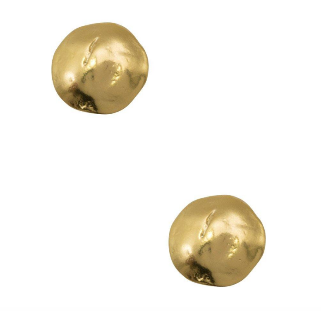 Small Hammered Disc Stud Gold