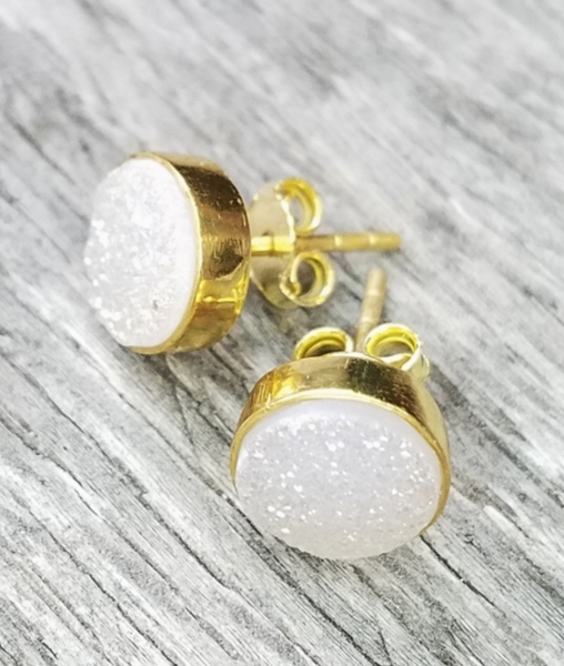 Druzy Stud Earrings - Rainbow White