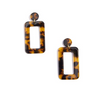 Tortoise Rectangular Drop Earring - Black/Brown