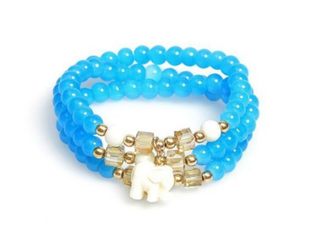 Beaded Elephant Bracelet - Blue