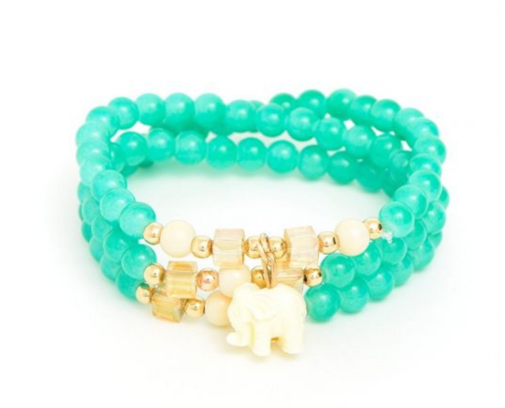 Beaded Elephant Bracelet - Green