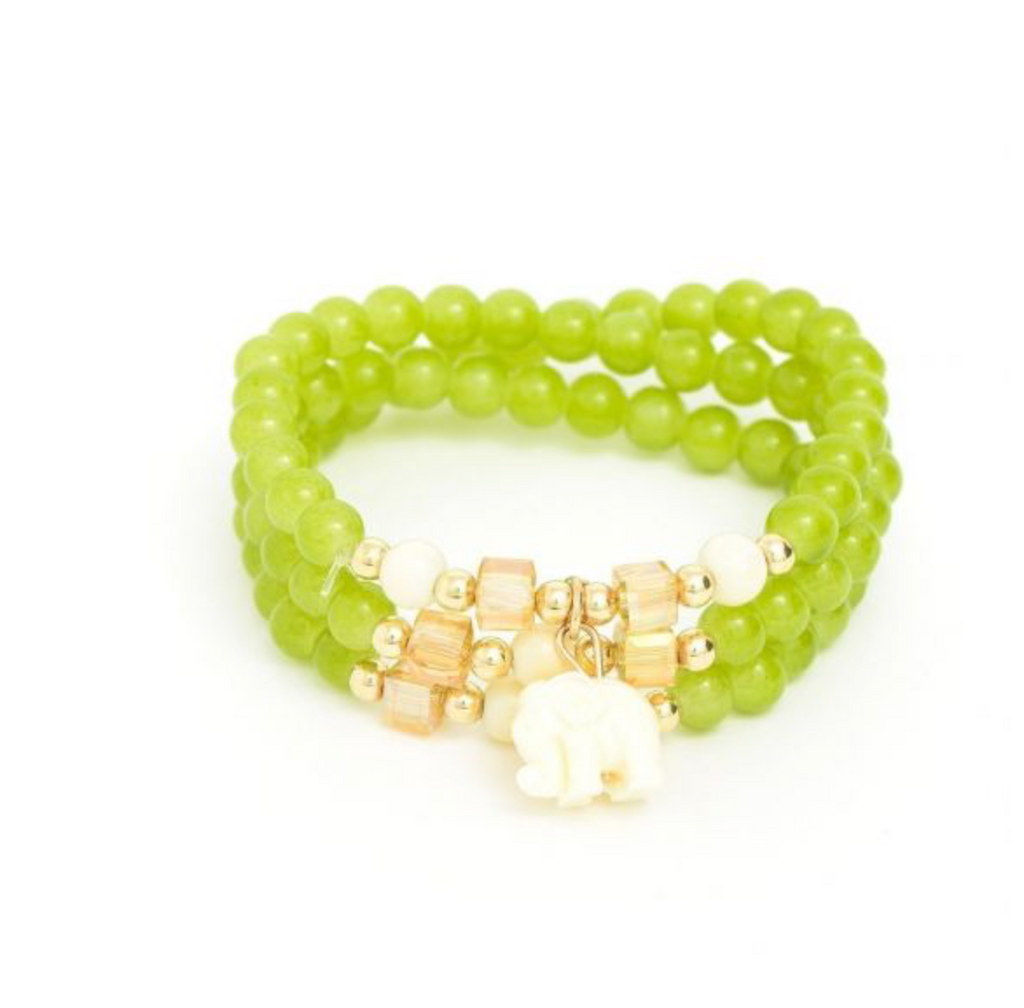 Beaded Elephant Bracelet - Light Green