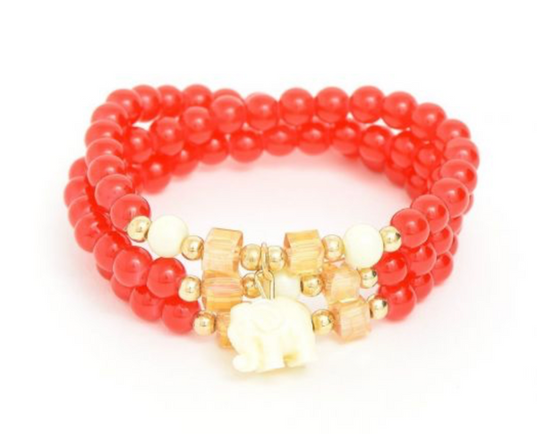 Beaded Elephant Bracelet - Red