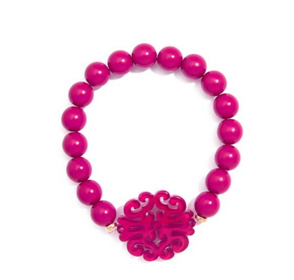 Swirl Charm Beaded Bracelet - Hot Pink