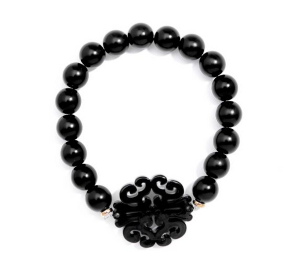 Swirl Charm Beaded Bracelet - Black