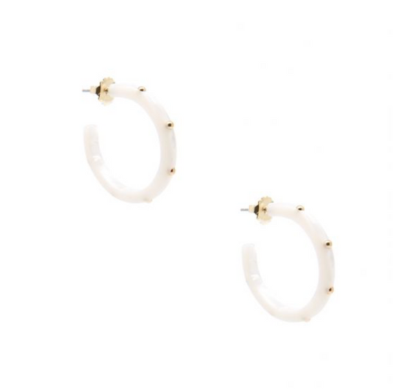 Small Tortoise Studded Hoop Earring - White
