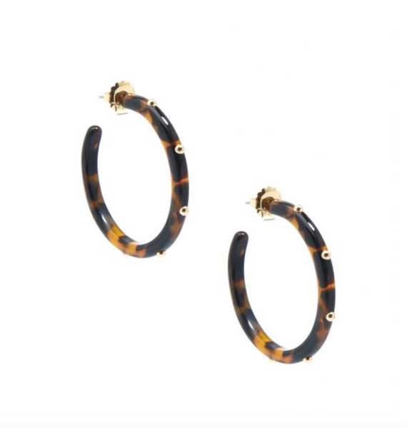 Tortoise Studded Hoop Earring - Black/Brown