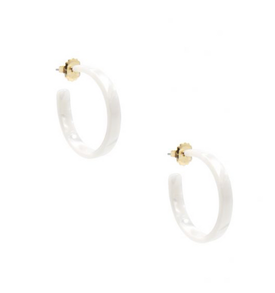 Small Thin Tortoise Hoop Earring - White