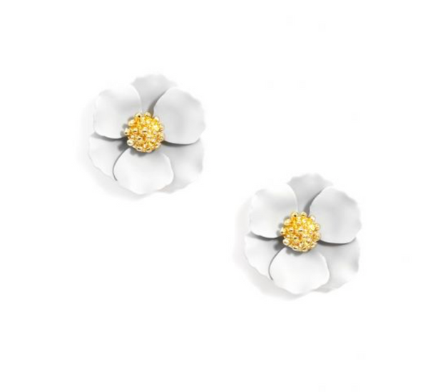 Mini Floral Stud Earring - White
