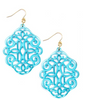 Regal Resin Drop Earring - Bright Blue