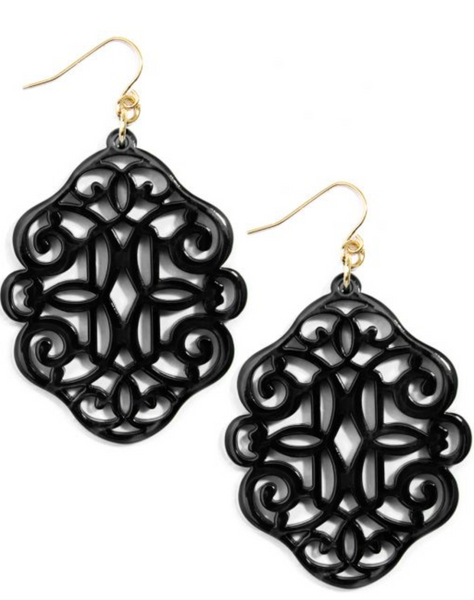 Regal Resin Drop Earring - Black