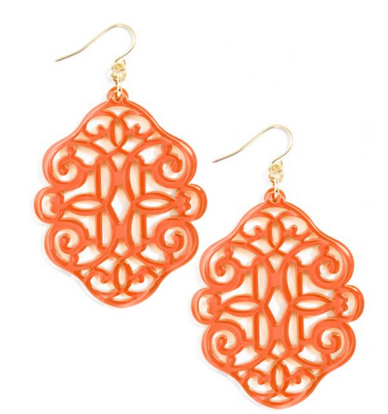 Regal Resin Drop Earring - Coral