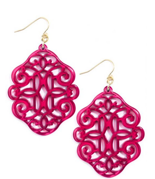 Regal Resin Drop Earring - Hot Pink