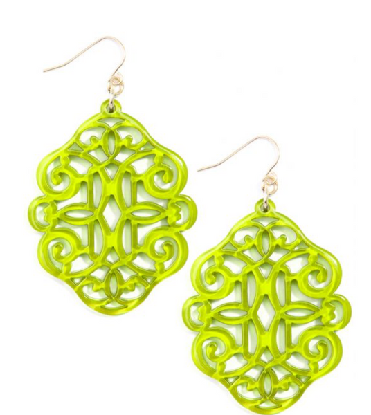 Regal Resin Drop Earring - Lime