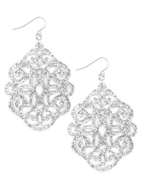 Regal Resin Drop Earring - Silver