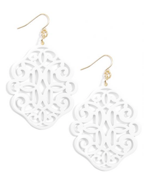 Regal Resin Drop Earring - White