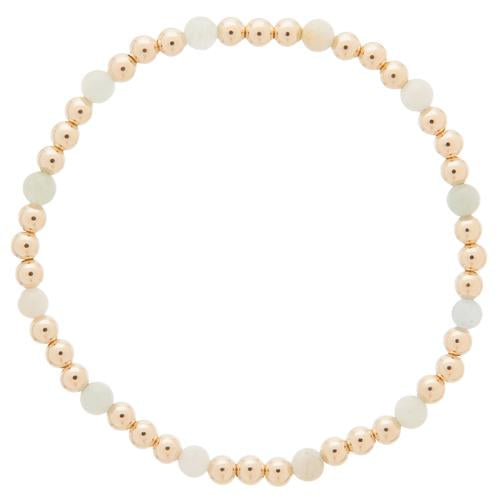Gold Sincerity Pattern 4mm Bead Bracelet Aquamarine
