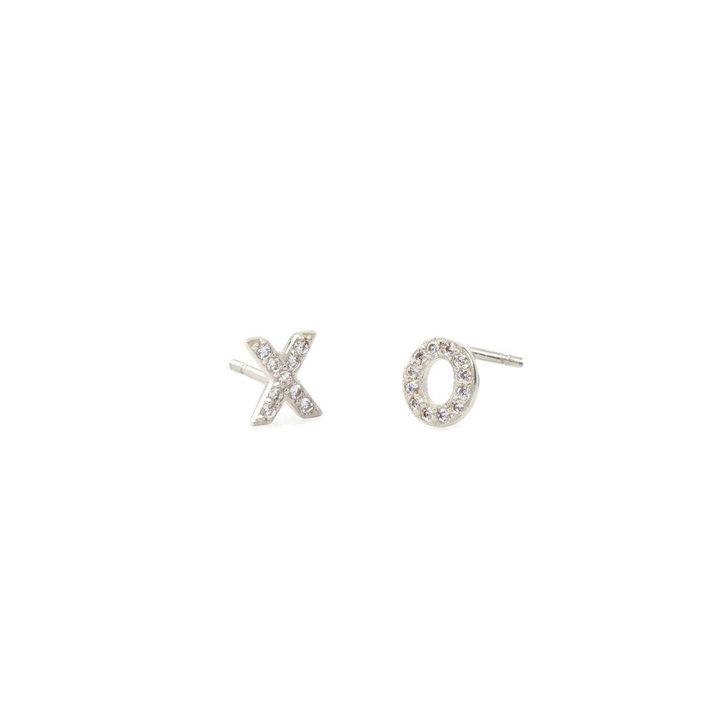 XO Pave Stud Earrings - Silver