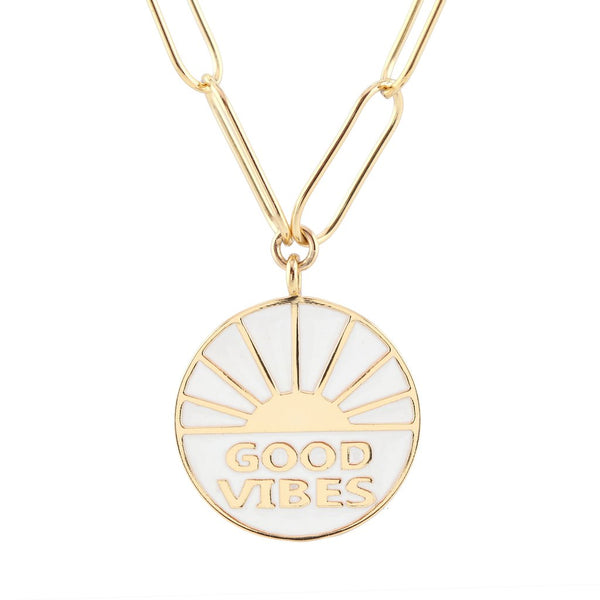 Good Vibes Enamel Charm Necklace