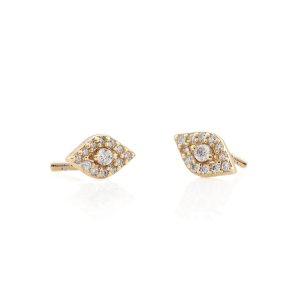 Third Eye Pave Stud Earrings - Gold