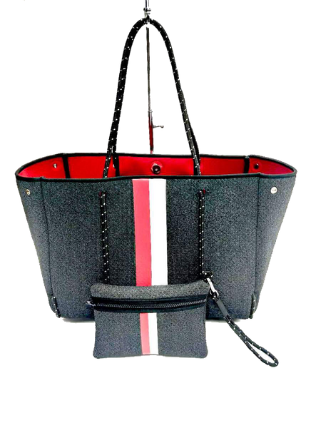 Greyson Tote - Black Denim with Red/White Stripe