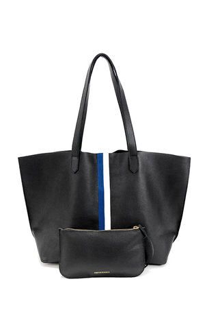 Leather Tote - Black with Blue and White Stripes