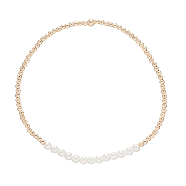 Gold Bliss 2mm Bead Bracelet Pearl