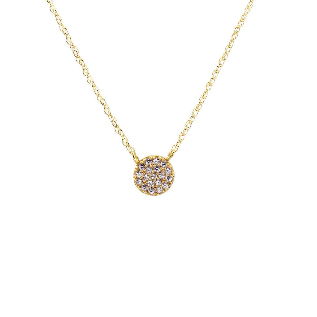 Round Pave Charm Necklace - Gold