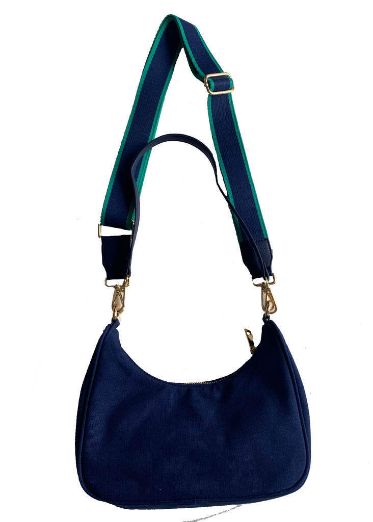 "Small Canvas Bag with Short Handle and 2"" Stripe Strap Navy"