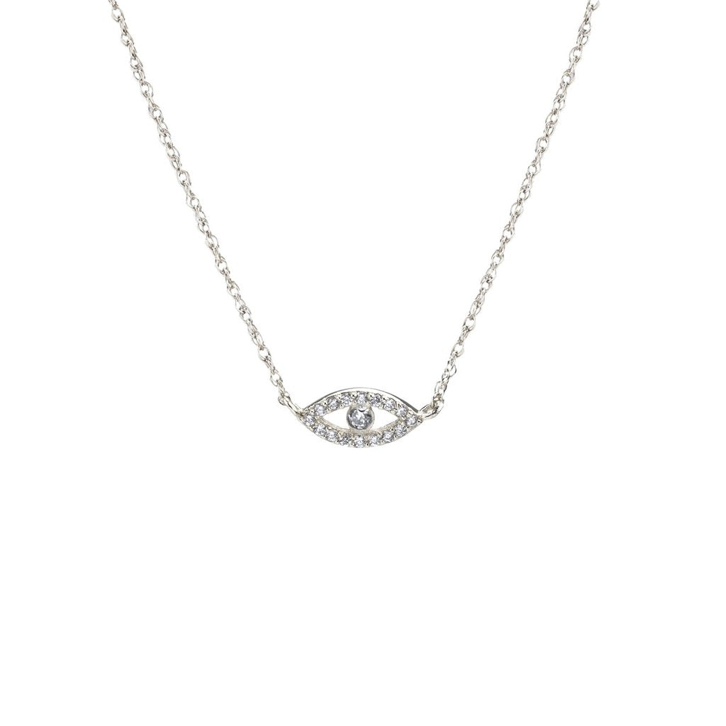 Third Eye Pave Charm Necklace - Silver